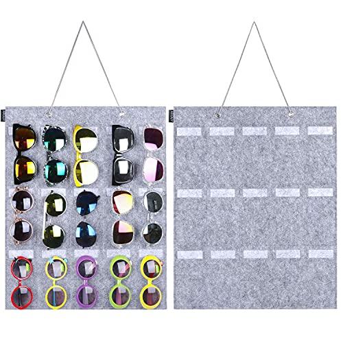 Organizador de gafas de sol, organizador de bolsillo para colgar en la pared, 25 ranuras de fieltro, organizador para gafas de sol, exhibición de gafas con cuerda resistente