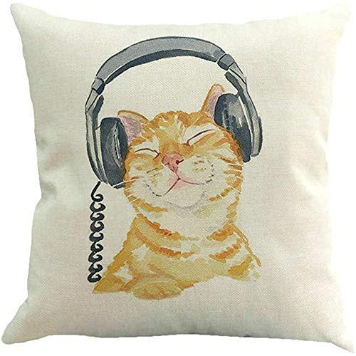 Kussenslopen, luisterende koptelefoon Muziek Kat Kussensloop Dier Pussycat Decoratieve Kussen Hoesjes Voor Woonkamer