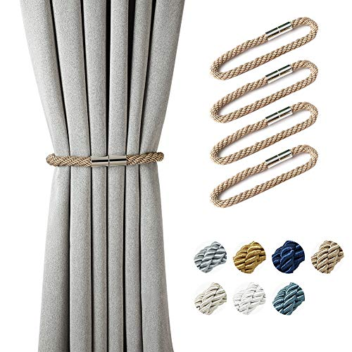 BCURTAIN Magnetic Curtain Tiebacks,European Style Decorative Curtain Drape Tie with Strong Magnetic for Home and Office Decoration,22.9 Inch,Light Coffee,2 Pairs