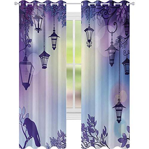 Cortinas opacas estampadas, antiguas calles en un ambiente siniestro violeta, cuervo en una noche de rama, cortinas de 52 x 95 para guardería, violeta multicolor