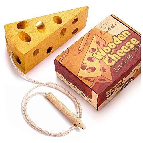 OleOletOy Fädelspiel für ab 3 Jahre - Holz Käse und Maus Motorikspielzeug Baby Fädelkäse, Montessori Spielzeug für Kleinkinder - Fädeln mit Kleinen Babyhänden