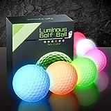 PalliPartners 6 pcs Glow Dark Golf Balls Bulk Light Up LED Golf Light Balls Night Sports Glow Dark Golf Balls for Men...