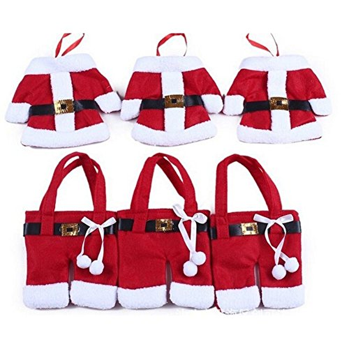 6pcs Santa Suit Christmas Cutlery Holders xmas Table Decoration Place Setting Gift By rayinblue