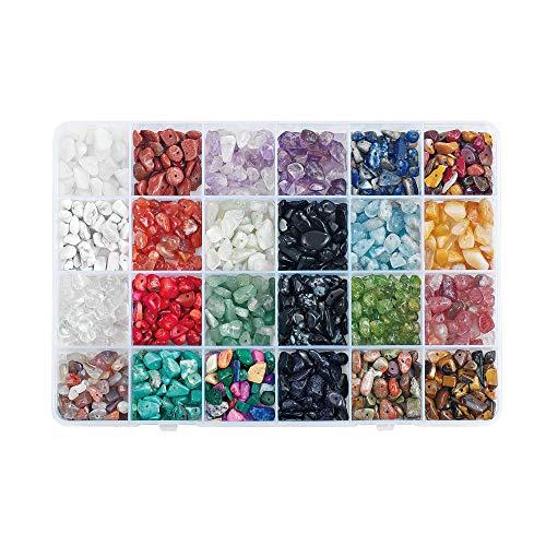 Cuentas de Piedras Preciosas en Forma de Chip, Grava de Forma Irregular Natural, Piedra de Cristal Suelta con Cristales Curativos de Forma Libre Triturados para la Labricación de Joyas (24 Colores)