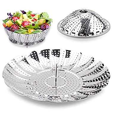 Steamer Basket Seafood Steamer Food Steamer Vegetable Steamer 100% Stainless Steel - 5.3  to 9.3  – Stainless Steel,Pasta Steamer Folding Collapsible Basket for Various Size Pots by Timmy