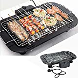 PIKFOS Smokeless Indoor/Outdoor Electric Grill, BBQ Barbecue Griddle, Household Smoke Free Electric Grill, Portable Tabletop Cooking Grill, Adjustable Temperature Control with Built in Drip Tray