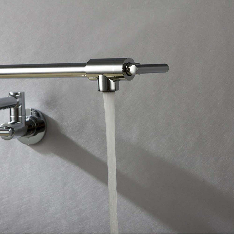 Arture Kitchen Sink Faucet Folding Telescopic Wall Kitchen Faucet Double Handle Single Cold Faucet Chrome Brass,Natural