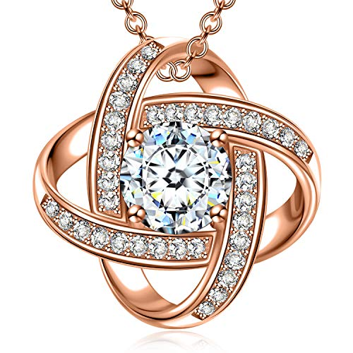 NM NINAMISS Necklaces for Women 925 Sterling Silver Rose Gold Plated Pendant Necklace Fine Jewelry Birthday Engagement Anniversary Gifts for Her Girls Girlfriend Sister Wife Christmas Gift
