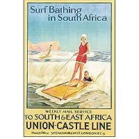 南アフリカサーフバスクラシックヴィンテージビーチサーフィン旅行ポスターキャンバス絵画壁ポスター家の装飾ギフト-50x70cmx1フレームなし