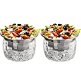 ZENFUN 20 Oz Dip Chiller with Acrylic Ice Bowl Base, Stainless Steel Ice Chilled Serving Dish Iced Salad Bowl Set for Chilled Pasta, Potato, Dressing, Fruit