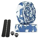 URBAN ZWEIRAD Cinta para Manillar de Bicicleta Resistente al desgarre, Incl. Tapas Laterales y Bandas Adhesivas - Extremadamente Antideslizante y fácil de Colocar (Camo Azul/Blanco, elástico)