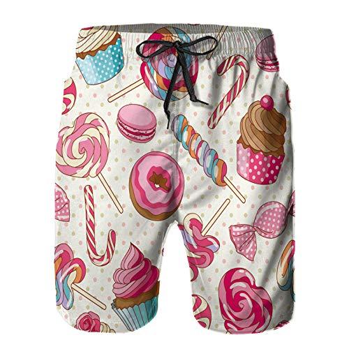 Aerokarbon Pantaloncini da Surf da Uomo,Amaretto Caramelle Lecca Lecca Dolce colorato Delizioso,Costume da Bagno con Fodera in Rete ad Asciugatura Rapida 4XL