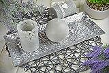 Sendez Dekoteller 37x15cm Dekotablett Schale Tablett Viereckig Silber Gold Metall Alu Deko Hammerschlag Optik (Silber) - 2