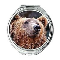 ミラー、化粧鏡、動物クマ茶色の熊、ポケットミラー、携帯用ミラー