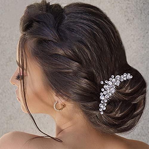 Peines para el Pelo de Novia, Peine de Flores Rhinestones Mujer Exquisita Boda Tocado Pelo Accesorios Silver Wedding Diamantes de Imitación Tocados Accesorios para el Cabello para la Novia - Plata