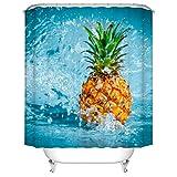 Fangkun Duschvorhang mit tropischem Design, Ananas-Design, Polyester, 12 Duschvorhänge, 183 x 183 cm, Gelb