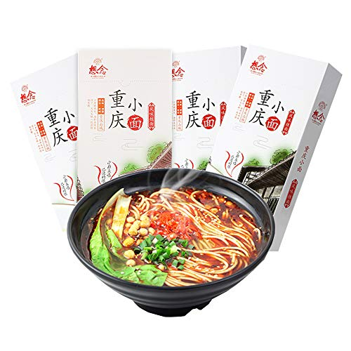 8 Servings (4 Boxes) Xiangnian Chongqing Noodles, Chinese Dried Spicy...