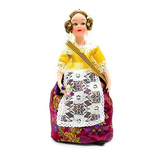 Folk Artesanía Muñeca Porcelana 30 cm Modelo Valenciana Fallera. Nueva en su Caja Original