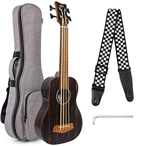 Aklot Ukelele bajo de 30 pulgadas Electric Acoustic barítono Ukulele Bass Professional Aquila EADG con correa de bolsa