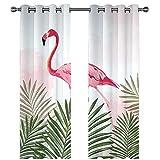 Cortinas Cocina Cortina Ducha Antimoho Plantas Verdes Flamingo Cortinas Visillos Regalo Decoración del Hogar Poliéster con 8 Ollaos para Salón Habitación 2 Unidades 280X250Cm