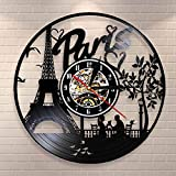 BFMBCHDJ París Torre Eiffel Decoración de Pared Francia Skyline Vinyl Record Reloj de Pared Paris City of Love Tourist Gift Living Room Wall Clock