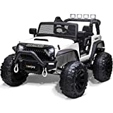 Uenjoy 12V Large Kids Electric Ride on Car 2 Seats Motorized Truck Battery Powered Children Electric Vehicles, Wheels Suspension, Remote Control, LED Lights, Music, Bluetooth, White