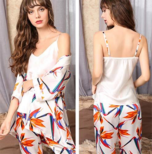 Vrouwen Pajamas Set, dames 100% Pure zijden kamerjas pyjama Lang nachthemd Sexy Ladies Badjas Sleep Slip Kimono Chinese stijl printing design (3 stuks),White,M