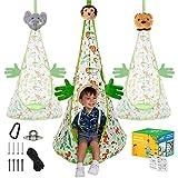 ABRA JOY - Hamaca para niños, para uso en interiores y exteriores, para colgar en el techo y árbol + 3 cabezas de juguetes de animales de la selva y manos de felpa, todos los accesorios incluidos