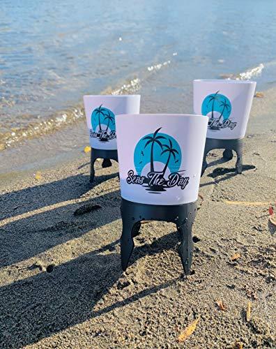Seas The Day Beach Cup Holder, beach cup, cup holder for beach, bottle opener, sand beach cup holders, 4-PK