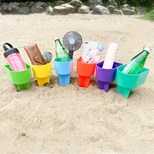 Home Queen Beach Cup Holder with Pocket, Multifunctional Sand Cup Holder for Beverage Phone Sunglass Key, Beach Accessory Drink Sand Coaster, Set of 6 (Blue, Teal, Purple, Green, Orange and Yellow)