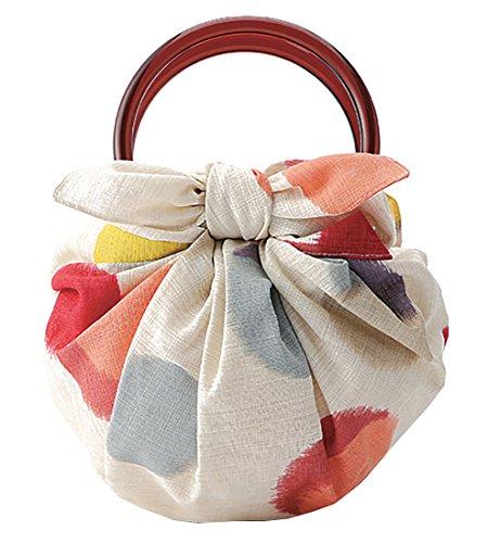 モダンガール いちごバッグ 風呂敷といちごリングのセットです(作り方しおり付) (水玉 ベージュ)