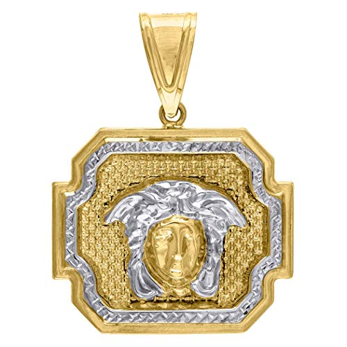 10k Goud Twee Toon Dc Mens Versace Hoogte 41.4mm X Breedte 30.1mm Bedel Hanger Ketting Sieraden Geschenken voor Mannen - Hogere Gouden Graad Dan 9ct Goud
