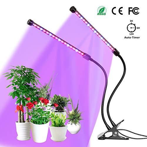 YUNLIGHTS Pflanzenlampe 18W 36 LED Pflanzenlichter 3 Automatisch Timer(3H/6H/12H), 5 Stufen Helligkeit, 360°Einstellbar für Zimmerpflanzen, Sukkulenten, Hydrokultur, Gemüse, Gewächshaus