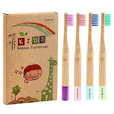 Kids Bamboo Toothbrush - Biodegradable Reusable Soft Toothbrush, Made of Natural Bamboo and Environmentally Friendly BPA-Free Bristles, Teeth Whitening, 4 Pack (Soft Spiral Bristles)