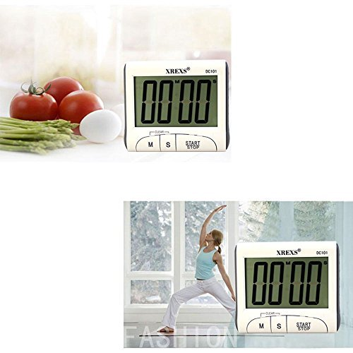 XREXS Digital Kitchen Timer Magnetic Countdown Up Cooking Timer Clock with Magnet Back and Clip, Loud Alarm, Large Display Minutes and Seconds Directly Input-White (2 Battery Included) (DC-101)