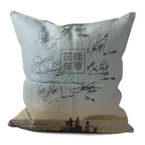 CBiBaMEi 55x55 cm Cojin Fundas BTS Young Forever Lino Throw Pillow Case Funda de Almohada para Cojín 22x22 Inch #A002