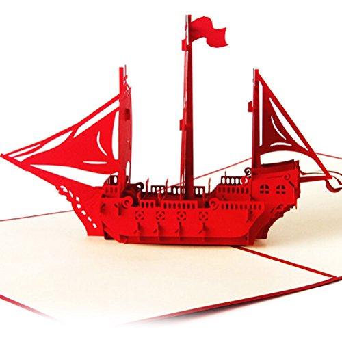 """3D-Popup-Grußkarten """"Bon Voyage"""" von Bestim Incuk, Papierkunst  rot"""