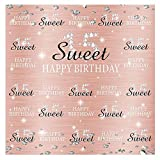 Funnytree Rose Gold Pink Sweet 15th Birthday Party Backdrop Quinceanera Princess Girl Step and Repeat Diamonds Glitter Shiny Photography Background Fifteen Years Old Age Decor Banner Photo Booth 6x6ft