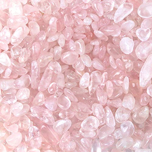 JOHOUSE Rose Stones, Crystals Gravel Quartz Tumbled Stone Pink Pebble Irregular Shaped Stones for Vase Filler, 1 Pounds(Approx 800)