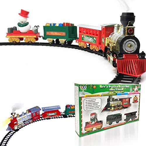 DAYOLY Set di treno natalizio con suono, un set completo con motore locomotivo, auto cargo, piste e spirito natalizio – classico per bambini