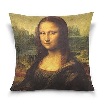 SUABO Mona Lisa by Da Vinci Cotton Velvet Decorative Throw Pillow Case Cushion Cover 20 X 20 inch