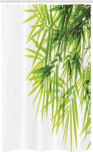 ABAKUHAUS Bambú Cortina para baño, Paz de la Hoja de bambú, Tela con Estampa Digital Apta Lavadora Incluye Ganchos, 120 x 180 cm, Verde Blanco