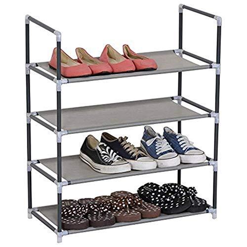 BXU-BG Estante de 4 niveles para zapatos pequeños de pie para 16 pares de zapatos