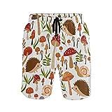 N\O Pantalones de playa para hombre con diseño de erizo y setas - - Small