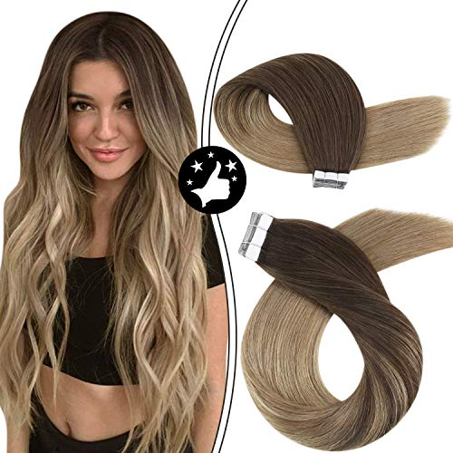 Moresoo 14 Inch Tape in Hair Extensions Human Hair Balayage #4 Dark Brown Fading to #16 Golden Blonde Hair Extension Tape in 100g Balayage Tape in Extensions 40pieces