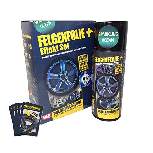 mibenco 71000004 FELGENFOLIE+ Effekt Set, 2 x 400 ml, Sparkling Ocean - Flüssiggummi Spray / Sprühfolie - Neue Chamäleon-Flip-Flop-Farbe und Schutz zum Felgen lackieren