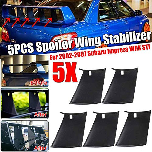 QQKLP Coche alerón Trasero del ala estabilizador de Parachoques Soporte para Subaru Impreza 2002 2003 2004 2005 2006 2007 WRX STI Stiffi Alerón Soporte Estabilizador,5pcs
