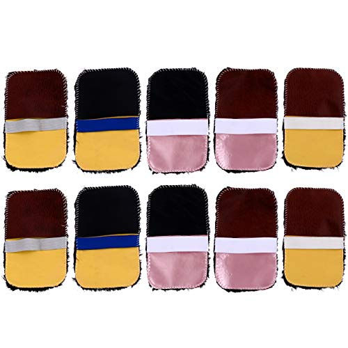 ULTNICE 10 Stück Schuhe Polierhandschuhe Weiche Plüschschuhe Glänzen Stoff Multifunktionale Leder Schuh Poliertuch Zufällige Farbe