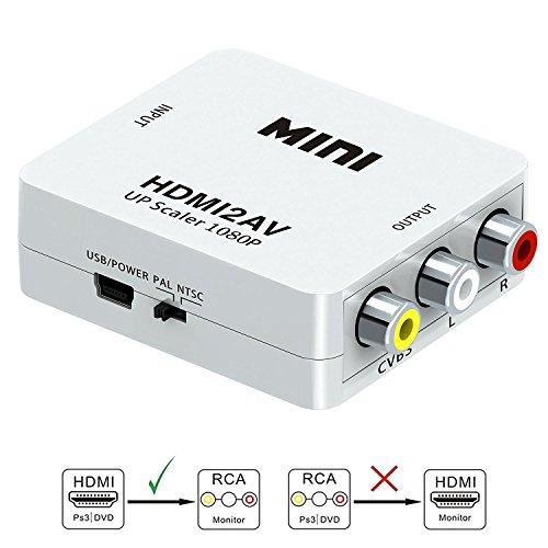 HDMI to RCA-GANA 1080P HDMI to AV 3RCA CVBs Composite Video Audio Converter Adapter Supporting PAL/NTSC with USB Charge Cable