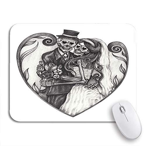 Gaming mouse pad braut hochzeit schädel hand bleistift zeichnung auf bräutigam halloween rutschfeste gummi backing computer mousepad für notebooks maus matten